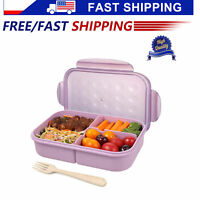Wheat Fiber Bento Box For Kids Adults Microwave Lunch Container Purple