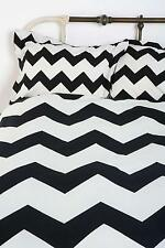 New Urban Outfitters Zigzag Duvet Cover + 2 Shams Black Stripe Queen Size NIP