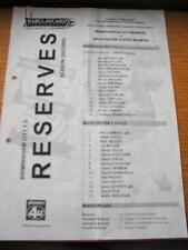 06/03/2003 Birmingham City Reserves v Manchester United Reserves  (Single Sheet,