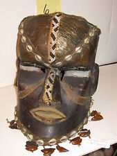 Rare Old AFRICAN HELMET MASK*19th Century BAKUBA ZAIRE*ORNATE WOOD+SHELLS+METAL