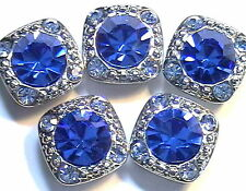5 - 2 HOLE SLIDER OR SPACER BEAD 8mm SAPPHIRE & 2mm LT SAPPHIRE AUSTRIAN CRYSTAL