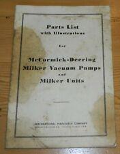 Vintage 1946 Parts List Mccormick Deering Milker Vacuum Pumps And Units