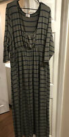 SWAK Womens Green And Navy Striped Maxi Dress Size 6X
