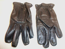 Mens Womens Unisex Black Leather Gloves YKK Zippers Fleece Interior Sz S SMALL