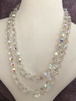 2 Strand Glass Necklace Crystal Aurora Borealis 1960s Vintage Jewellery Jewelry