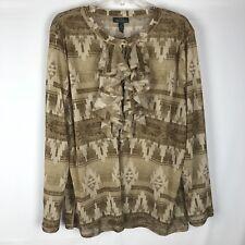 Lauren Jeans Co 3X Top Ruffle Front Blouse Aztec Print Long Sleeve Tan Brown