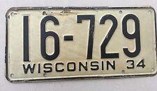 "1934 WISCONSIN  PASSENGER LICENSE PLATE  "" 16 729 ' WI 34 ORIGINAL CONDITION"
