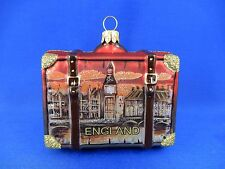 London England Big Ben Tower Bridge Suitcase Glass Christmas Tree Ornament 11056
