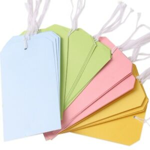 LARGE COLOURED PAPER GIFT TAGS ON STRING Card Luggage Label Wedding Party Bag