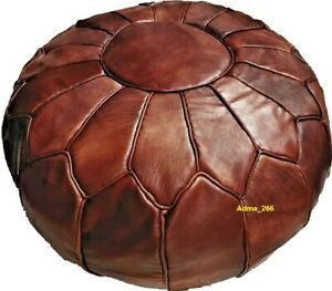 Round Moroccan Leather Footstool Pouf Ottoman Moroccan Brown Foot stool