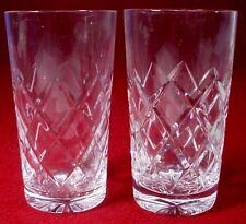 "GALWAY crystal O'BRIEN pattern HIGH BALL TUMBLER Cut Base 5-1/4"" set of 2"