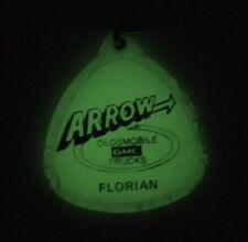 Vintage KEYCHAIN Auto Car Truck Dealer ARROW OLDS GMC Glow in the Dark FLORIAN