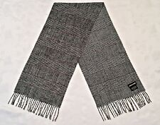 VINTAGE AUTHENTIC PIERRE CARDIN PLAIDS & CHECKS GRAY LONG MEN'S FRINGE SCARF