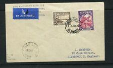BERMUDA 1939 airmail cover to Liverpool bearing 6d and 1/6 adhesives. Pan Am