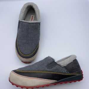 Sorel Mackenzie Gray Wool Snow Outdoor Slippers Loafers Shoes 11