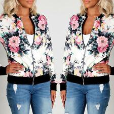 New Womens Ladies Jacket Celebrity Camo Flower FLoral Print Bomber Biker Coats