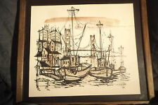 Vintage John Friedman Framed Art Print 1/64 Boats Ships Dock