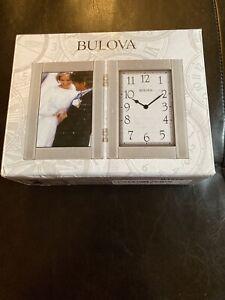 Bulova Hinged Brushed Aluminum Case Picture Frame Clock 3.5 X 5 Photo B1275