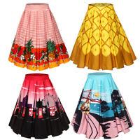 Women Retro Vintage 50s Style Rockabilly Skirt Pineapple&Floral Swing Midi Dress