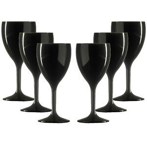 Elite Premium Unbreakable Reusable Polycarbonate Plastic BLACK Wine Glasses
