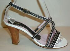 Gixus Size 7 M Eur 37 MIKI Black White Leather Heeled Sandals New Womens Shoes