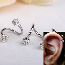 Rhinestone Stainless Steel Twist Ear Helix Nose Hoop Ring Earring Body Piercing