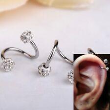 New Crystal Stainless Steel Twist Ear Helix Cartilage Body Piercing Earring Stud