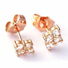 Bright jewelry crystal Stud Earrings free shipping Rose Gold Filled for Women