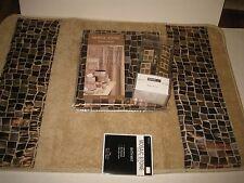 popular bath shower curtain rug hooks bathroom set 14pc mosaic stone bronze new