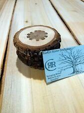 "SET OF FOUR ""TREE TRUNK"" BLACK WALNUT DRINK COASTERS! RUSTIC LOG CABIN DECOR :-)"