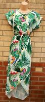GREEN WHITE TROPICAL FLORAL SHORT SLEEVE BELTED WRAP MIDI LONG SUMMER DRESS S M