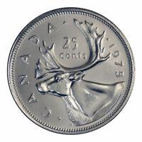 Canada 25 cents quarter coin, CARIBOU, 1975