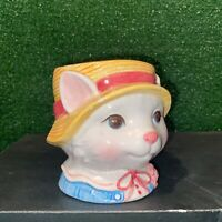 Vintage 1992 Hand Painted Fitz & Floyd Victorian Cat Lady Ceramic Coffee Mug Cup