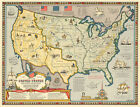 US Map Boundaries after Louisiana Purchase & Florida Acquisition 1784-1844 Print