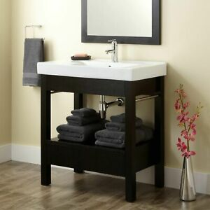 Signature Hardware Sylar Wooden vanity Cabinet Black - FREE SHIPPING
