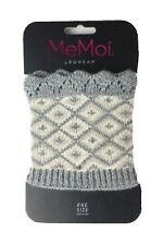 MeMoi Legwear Sweater Boot Cuff One Size Gray And Cream Diamond Design  NEW