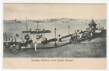 Bombay Harbour Harbor from Apollo Bunder India 1910c postcard