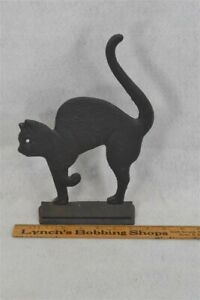 old period cat door stop hunch back tail up cast iron 11 x 8 in original