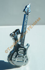 Pendentif 100% Acier Inox Guitare Rock Argent + Chaine