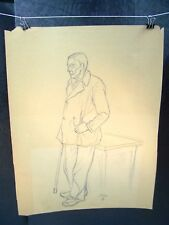 Old Man w/ Cane Leaning on Table Sketch Original Pencil 1953 by C. Schattauer