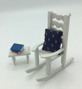 Dolls House White Rocking Chair And Side Table