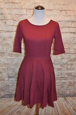 Modcloth Dote Worry About It Dress Wine NWOT M A-line Knit Half Sleeves Burgundy