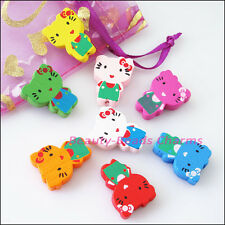 8Pcs Mixed Craft Wood Wooden Animal Cat Spacer Beads Charms 18x24mm