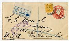 NEW ZEALAND ENVELOPE KG V, CD.24a, REG AUCKLAND TO USA 1918              (B398)