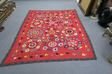 "ANTIQUE VINTAGE UZBEK SILK EMBROIDERY SUZANI 61"" X 72"" PANEL TAPESTRY WALL DECOR"
