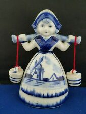 "Delft Dutch Figurine Bell 5""h Hand Painted Holland Blue Buckets Carrying Girl"