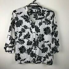 Lucy & Laurel Black White Floral Linen Button Front Blouse Band Collar Size 2X