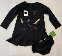 NWT Kate Spade Baby Girls 24 Months Black Glamour Collage Dress & Bloomer $48