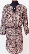 Ralph Lauren Brown Dress Animal Print Womens Plus Size 16W Semi-Sheer NWT $155
