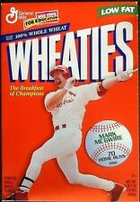 Mark McGwire 1999 Wheaties 18 oz. Cereal Box 70 Home Runs